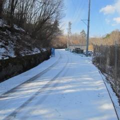 農場に続く道の日陰にはまだ雪が残っています
