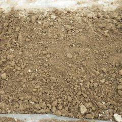 土のかたまりを丁寧に砕いて整地します
