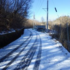 農場に続く道の日陰には9日に降った雪が溶けずに凍結して残っています