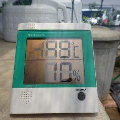 本日、ハウス内は気温49℃湿度10%