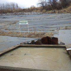 農場の水槽にはまだ厚い氷が張っています
